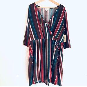 Derek Heart Plus Dress Soft faux wrap dress V-Neck